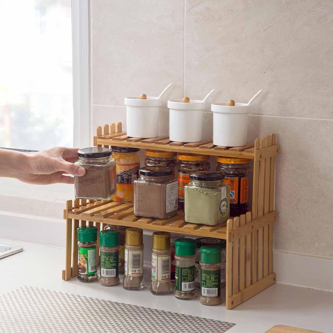 2 طبقات الخيزران تخزين الرف المطبخ برطمان توابل زجاجة التوابل رف الديكور المنظم الرف رفوف سطح المكتب المنزل