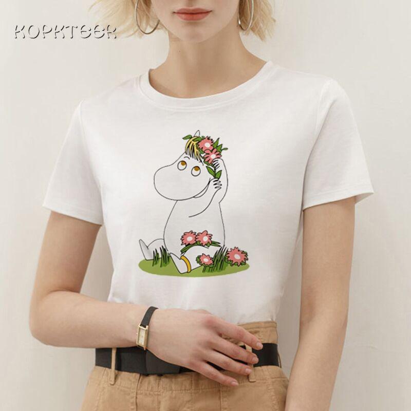 Camisetas para Mujer moda 2019 Moomin Kawaii divertida impresión gráfica Camiseta femenina encantadora Harajuku Vogue Cartoon Camiseta Mujer