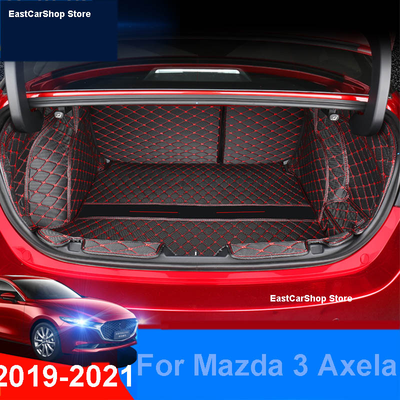 Car All Surrounded Rear Trunk Mat Car Boot Liner Tray Custom Protective Mat for Mazda 3 Axela 2019 2020 2021 Car Accessories