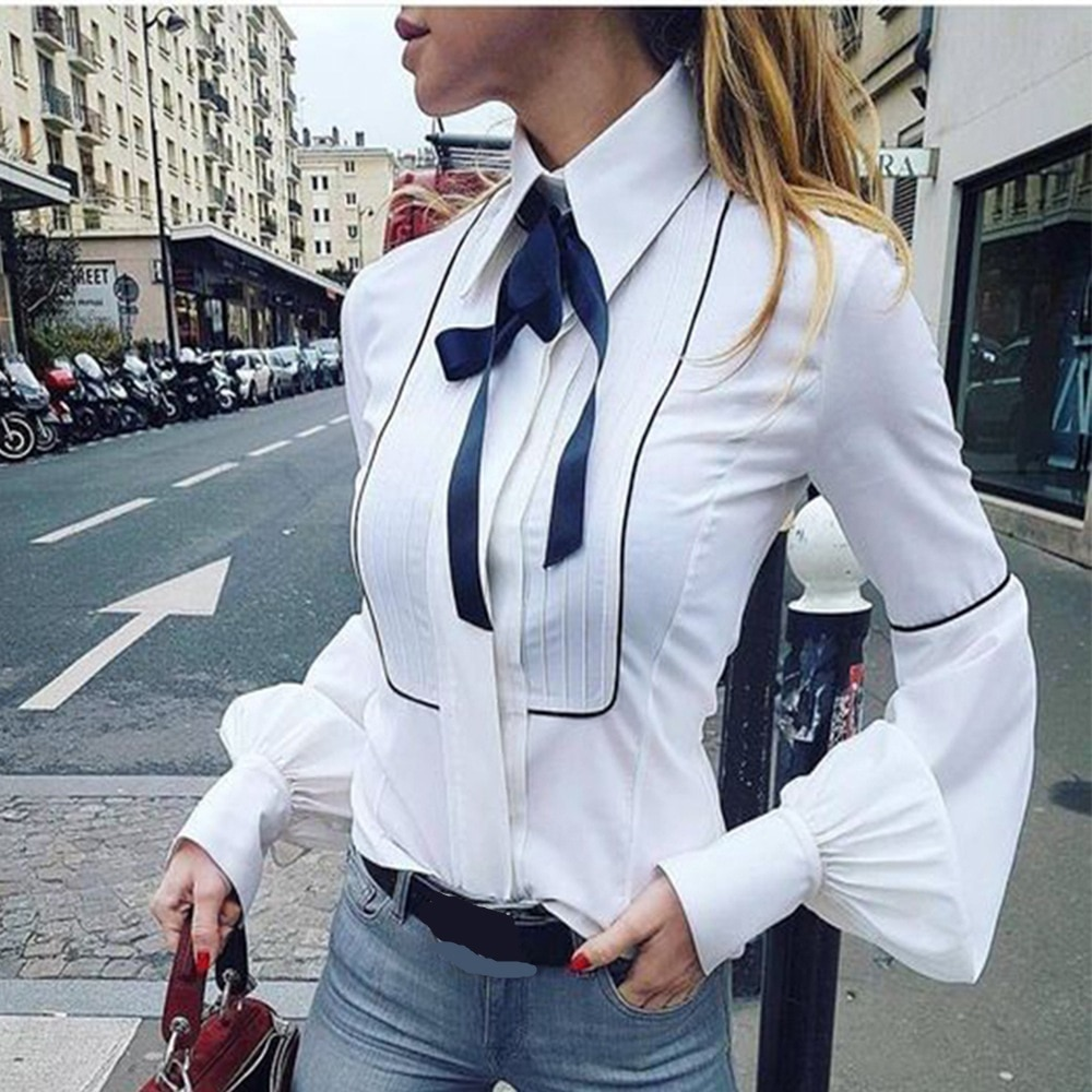 2020 New Spring Office Bow Tie Blouse Women Lantern Sleeve White Button Necktie Shirts Female Elegant Work Shirt Casual Tops