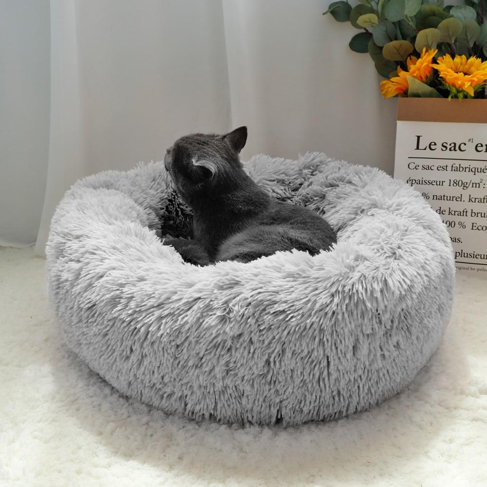 푹신한 진정 개 침대 긴 봉제 도넛 애완 동물 침대 Hondenmand 라운드 정형 외과 라운지 침낭 개집 고양이 강아지 소파 침대 집