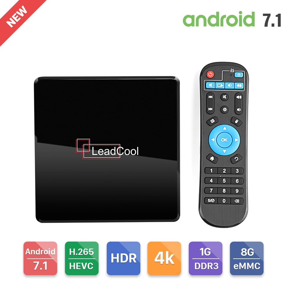Leadcool X андроид ТВ-приемник Amlogic S905W WIFI 2,4G LAN100M H.265 4K медиаплеер Android 7,1 Leadcool Smart TV телеприставка