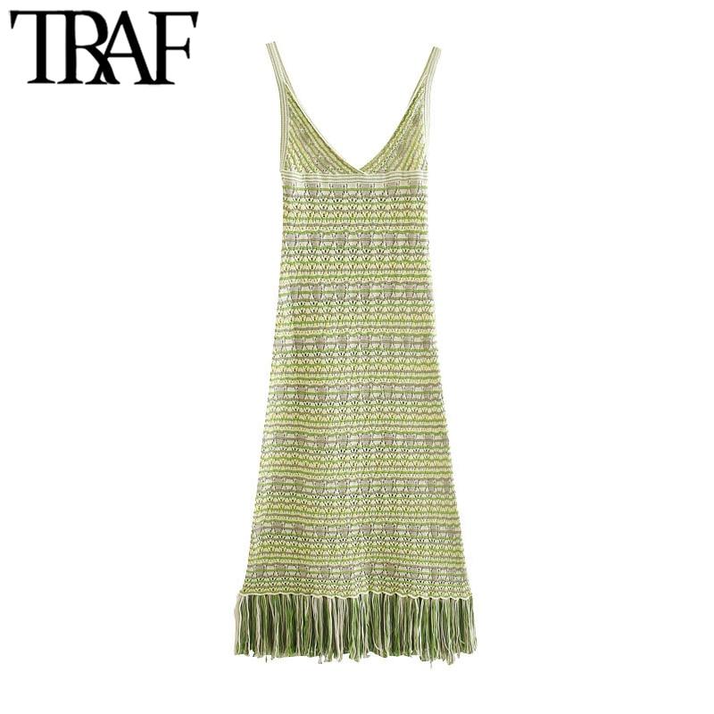 TRAF Women Chic Fashion With Tassel Knitted Midi Dress Vintage Backless Fringed Hem Straps Female Dresses Vestidos