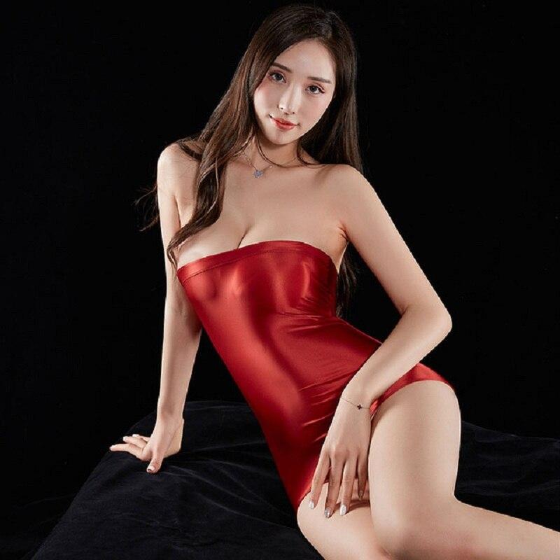 Femmes Sexy crayon serré robe mignonne huile brillante pure lisse voir à travers Mini moulante robe de pansement discothèque fantaisie vêtements érotiques