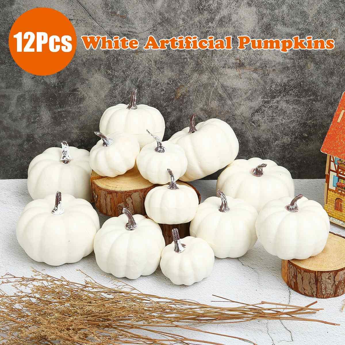 12 Stks/set Diy Nep Fruit Ornament Halloween Wit Kunstmatige Pompoenen Oogst Oogst Thanksgiving Home Decor Props Party