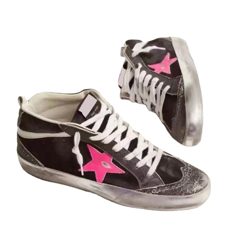Autumn and Winter New First Layer Cowhide Distressed Children's Dirty Shoes Star Breathable High-top Parent-child Sneakers QZ62 enlarge