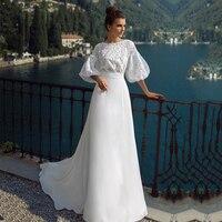 Fanweimei Sweep Train Wedding Dresses Scoop Neck Lace Long Sleeve Boho Bridal Dress Arabic Wedding Gowns vestido novia
