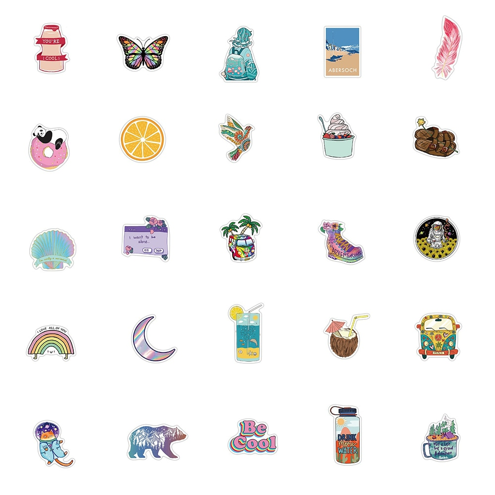 20Cartoon Vsco Personality Stickers Laptop Guitar Luggage Fridge Phone Waterproof Graffiti Sticker Decal Kid Classic Toys  - buy with discount