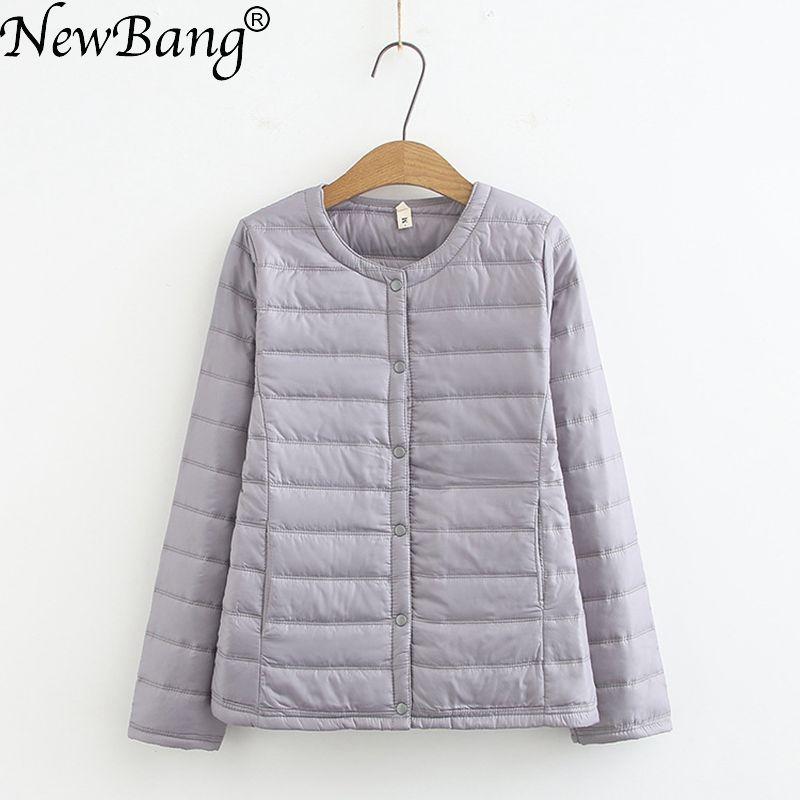 NewBang 4XL Plus Size Lightweight Cotton Coat Women Winter Warm Liner Collarless Coat With Zipper Female Slim Jackets