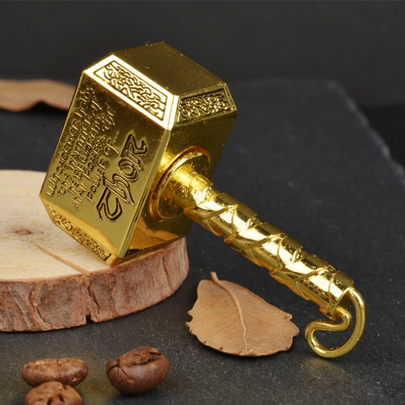 1pcs Wiitin Thors Battle Hammer Fidget Hand Spinner Made by Metal, the Mighty Mjolnir Keychain Toy - Antique Brass enlarge