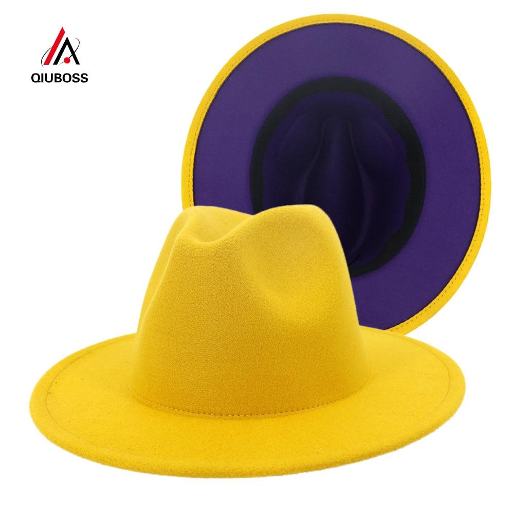 2020 New Yellow Purple Patchwork Wool Felt Jazz Fedora Hats with Belt Buckle Men Women Wide Brim Panama Cowboy Trilby Hat L/XL