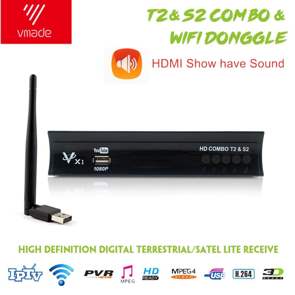 Vmade Full HD Digital DVB T2 S2 Combo Receiver Satellite Terrestrial TV Tuner H.264 MPEG-2/4 1080p Support CCCAM IPTV + WIFI
