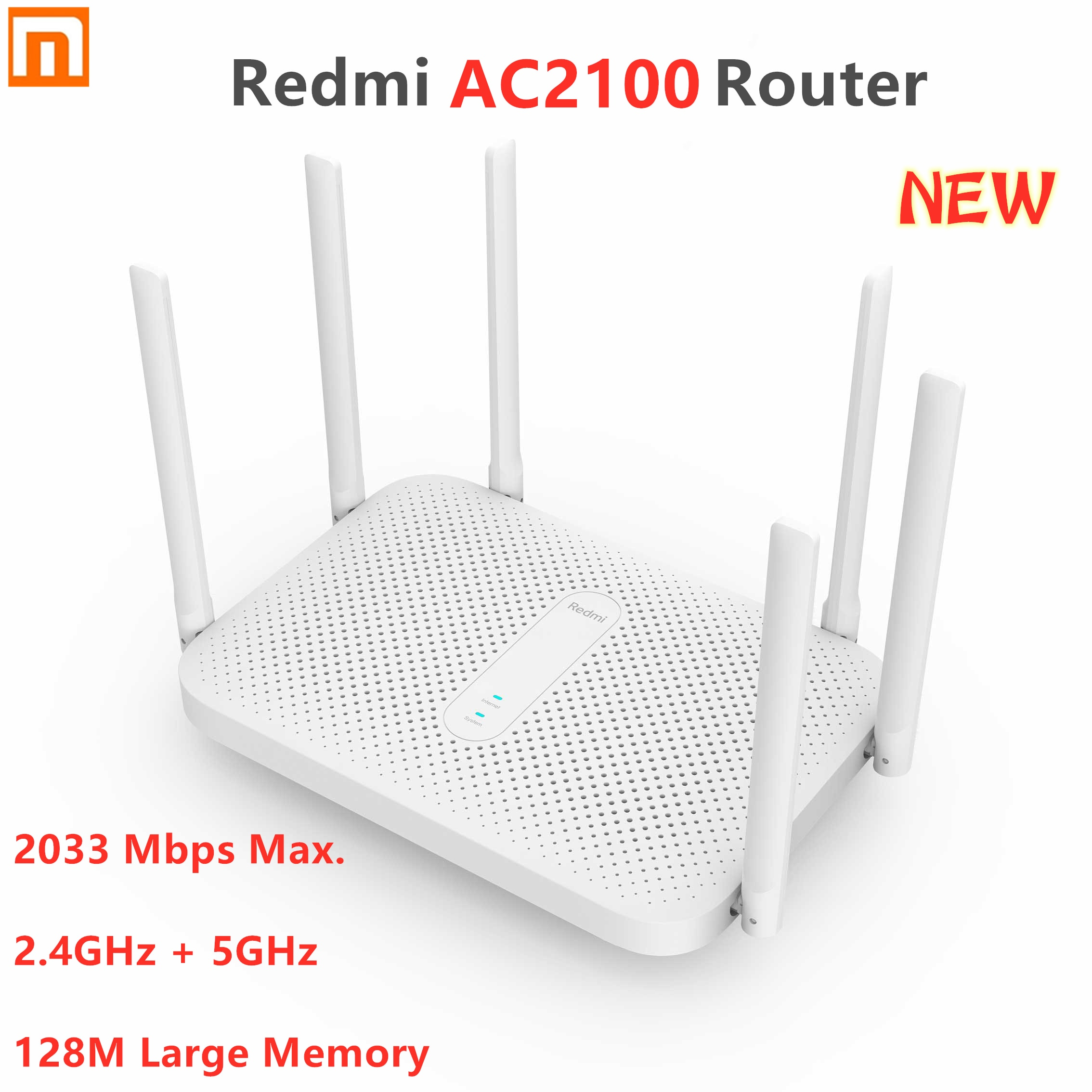 Беспроводной маршрутизатор Xiaomi Redmi AC2100 Gigabit 2,4G, 5,0 ГГц, 2033 Мбит/с, 6 антенн с высоким коэффициентом усиления