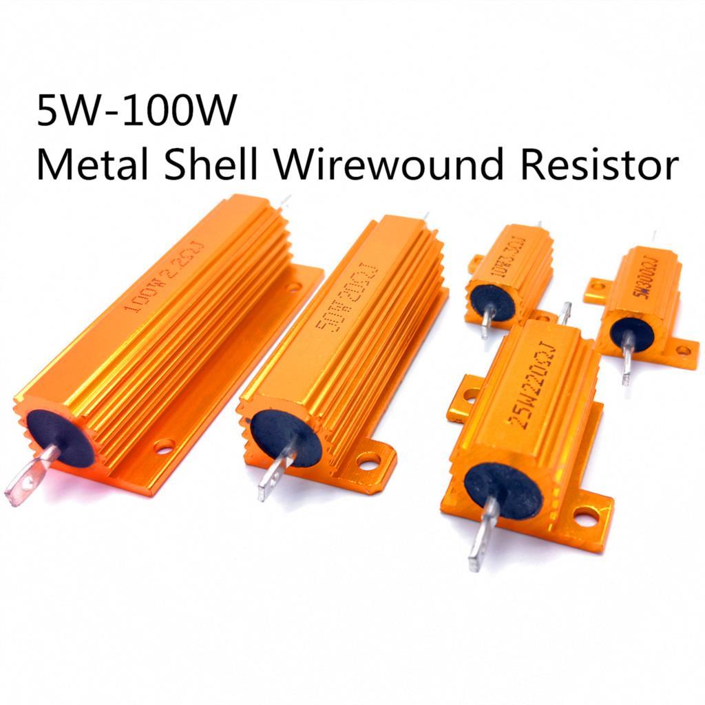 25W 50W 100W Aluminum Power Metal Shell Case Wirewound Resistor 0.01-100K 0.05 0.1 0.5 1 2 6 8 10 20