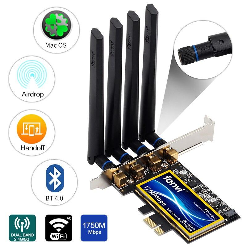 Fenvi T919 для Mac OS PC PCI WiFi карта непрерывности Handoff BCM94360CD нативный Аэропорт WiFi BT 4,0 1750 Мбит/с 5 ГГц/2,4 ГГц WLAN PCI-E
