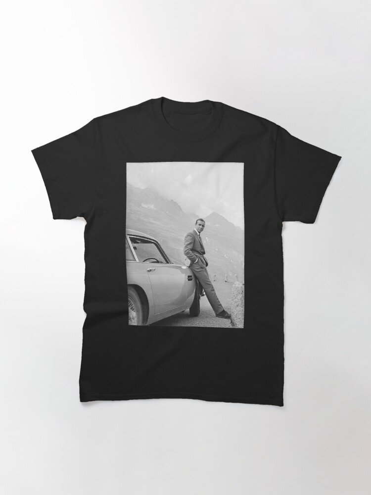 Tops T Shirt WomenSean Connery and Sports Car, Black and White Vintage Art Classic T-Shirt
