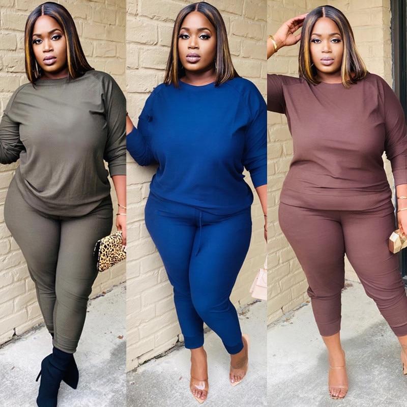 Plus Size active wear women solid color two piece set long sleeve tee tops long pants suit sweat sui
