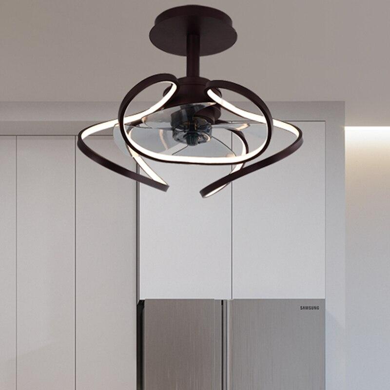 Ventilador de techo AC con luz para restaurante, lámpara de sala de estar moderna y minimalista con forma especial, ventilador de techo eléctrico con personalidad