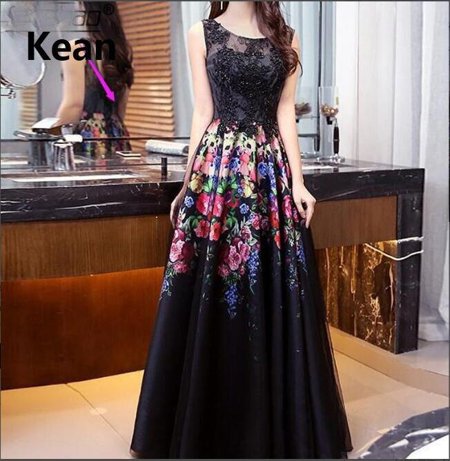 Купить с кэшбэком Black Muslim Evening Dress printing and dyeing Applique Illusion Islamic Dubai Kaftan Saudi Arabic Evening Gown Prom Dress