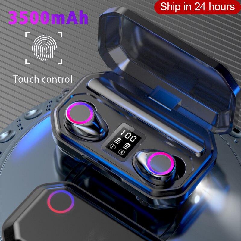 Auriculares M12 TWS Bluetooth HD estéreo, auriculares inalámbricos con huella digital táctil, cancelación de ruido, auriculares para juegos, auriculares impermeables
