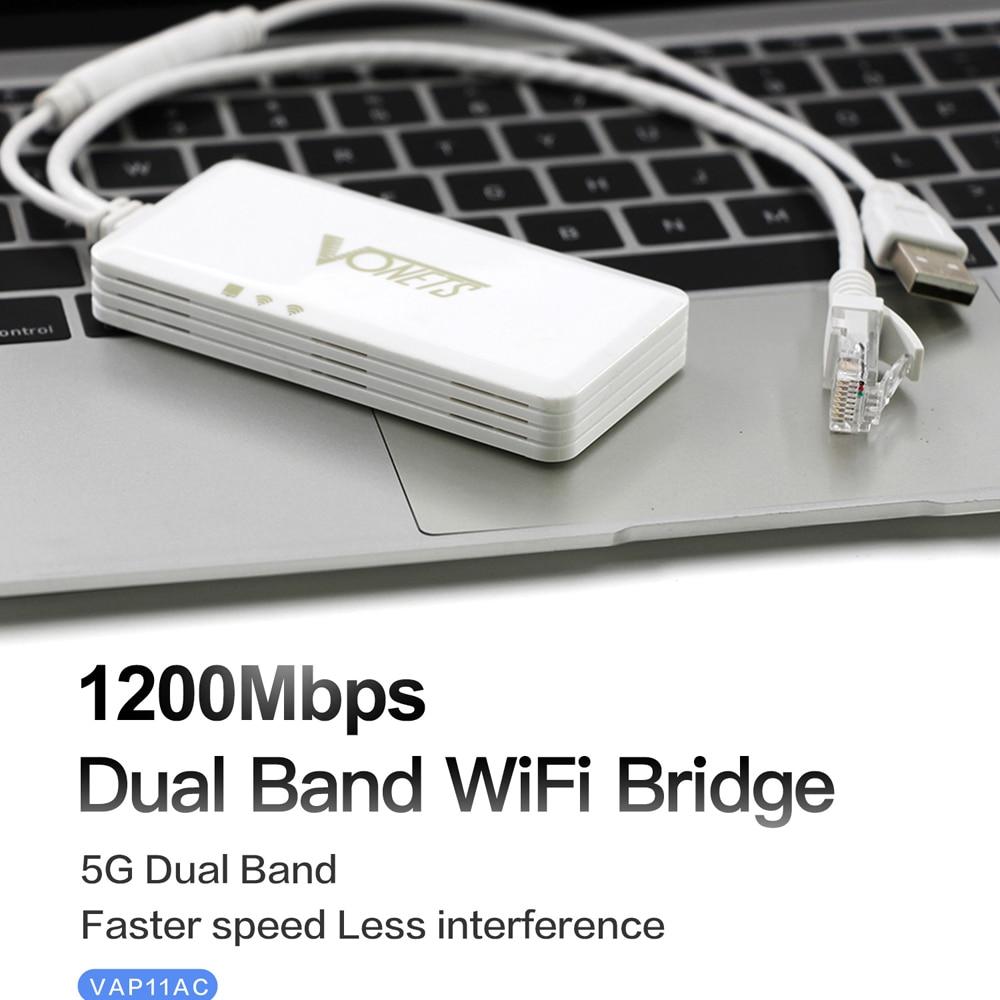 Vonets vap11ac banda dupla 2.4g 5g sem fio portátil wifi repetidor ponte roteador 300 mbps + 900 mbps para monitoramento de segurança vídeo