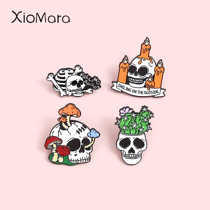 Broches en émail crâne, chandelier, squelette de mode, plantes en pot, Badges à revers, Punk, bijoux cadeaux pour amis, vente en gros