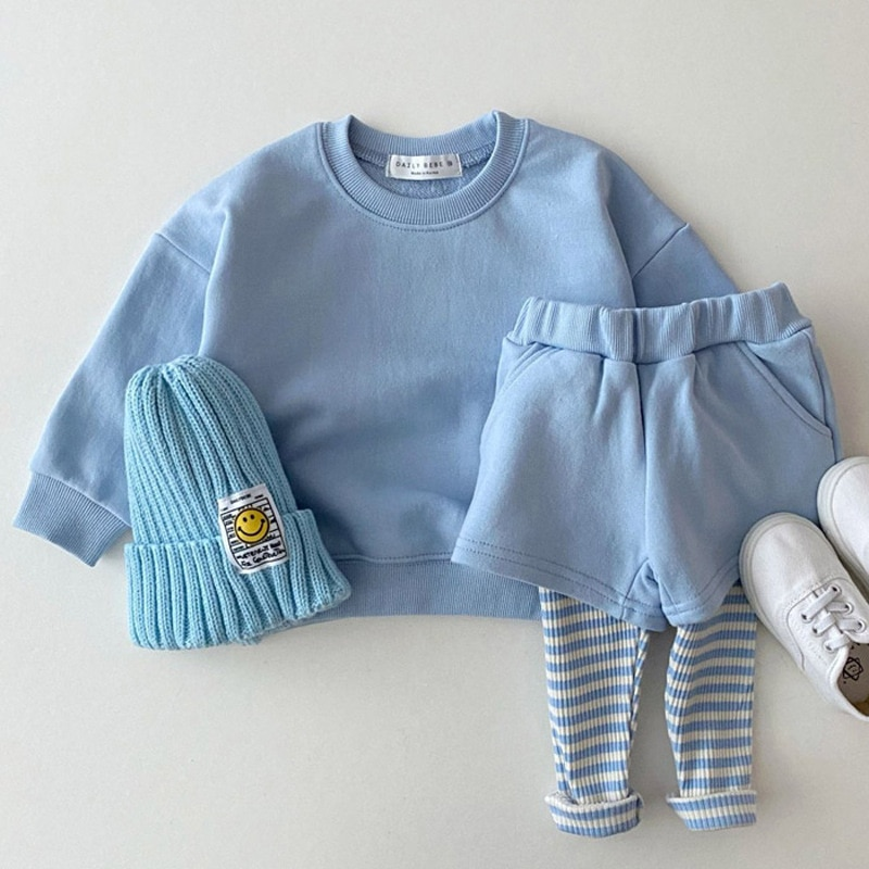 INS Korean Baby Clothes Boys Girls Candy Color Sweatshirts+Pants 2pcs Sets Tracksuits Casual Fashion Kids Children Clothing Sets