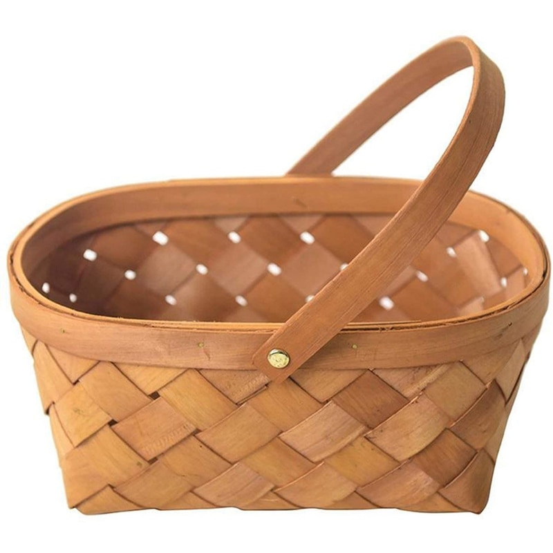 Handmade Rattan Storage Container Storage Basket Wooden Storage Basket with Handle Storage Container