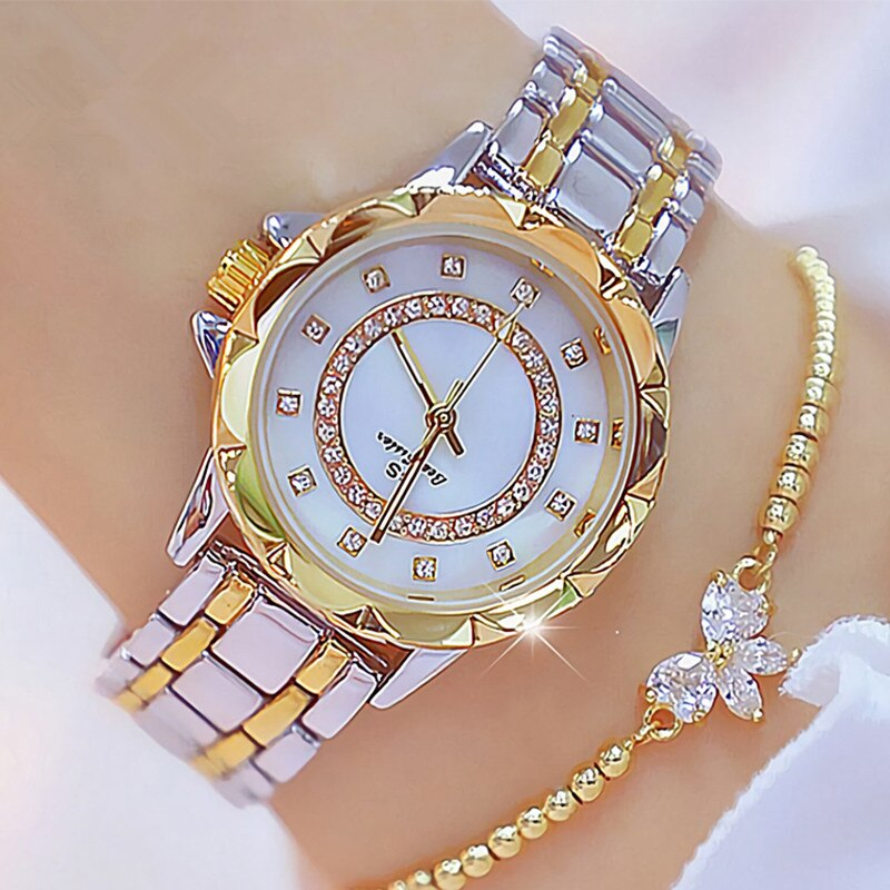 BS Bee sister Watch Diamond Women Watch Luxury Brand Rhinestone Ladies Watch Rose Gold Clock Wrist Watches For Women relogio