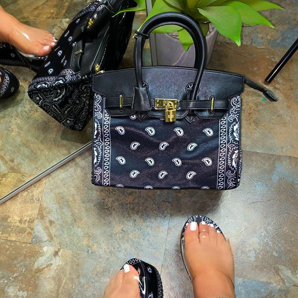 2021 Pink Black Red Mixed Blue Elegant Paisley Printed Handbags Women Fashion Trend Bags