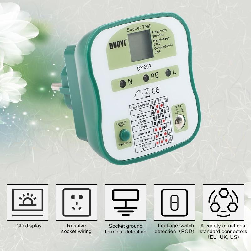 EU/US/UK enchufe de pantalla Digital probador de toma de corriente RCD Detector de prueba de enchufes de pared circuito buscador de interruptor análisis