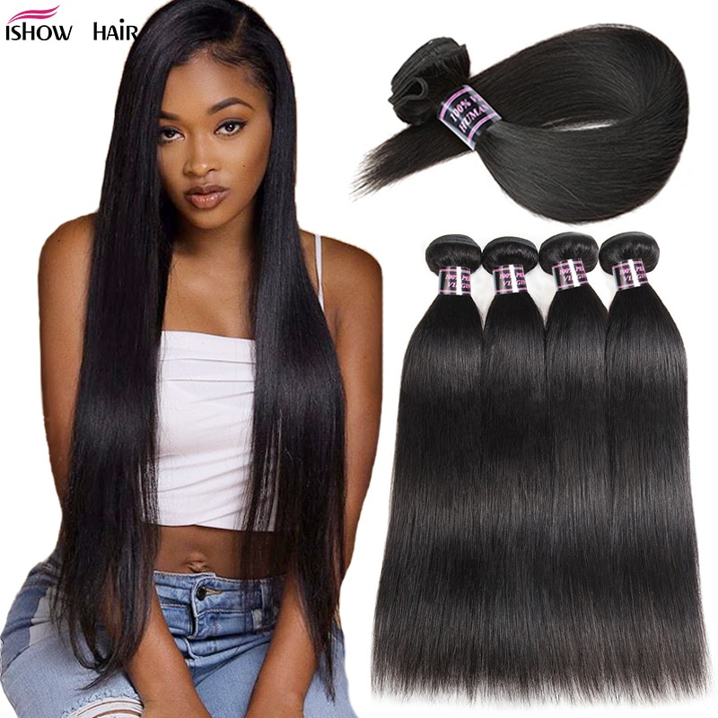 Ishow Brazilian Straight Hair Bundles Long Human Hair Bundles 30 32 24 36 38inch Brazilian Hair Weave Bundles Natural Color