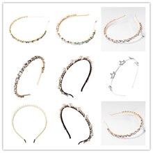 Nueva diadema de cristal para mujer, diadema de metal brillante con corona pequeña, diadema para niña con diamantes artificiales y perlas