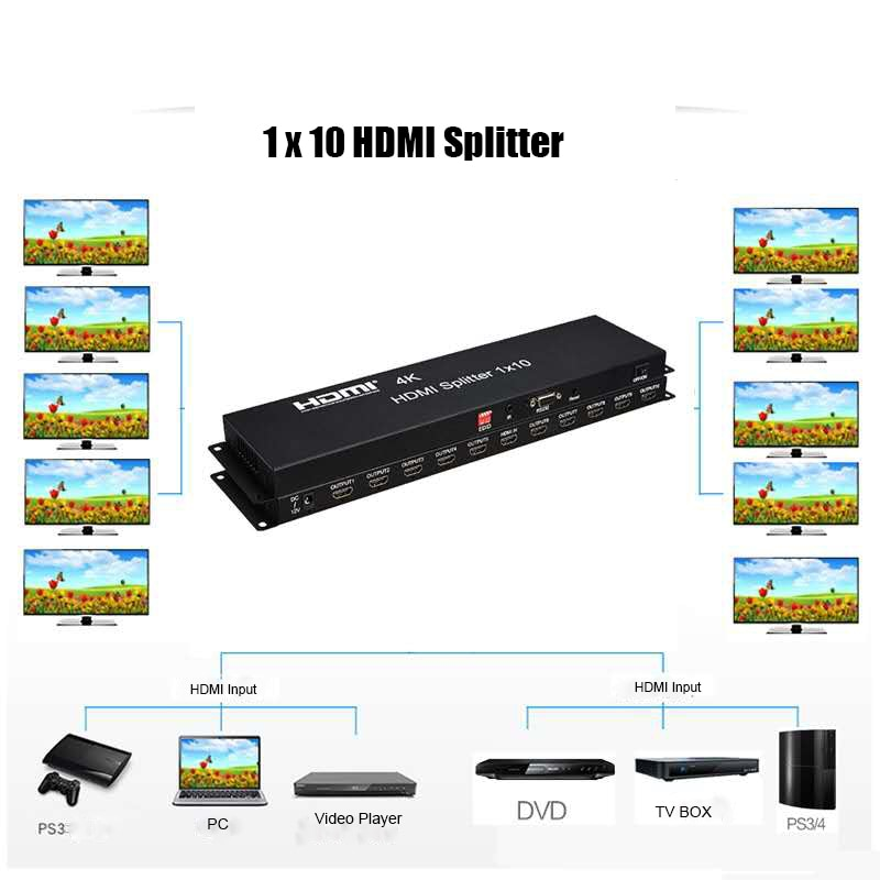 High Performance HDCP 1.4 HDMI Splitter 1 x 10 full 3D and 4Kx2K (340 MHz) suitable for with ir enlarge