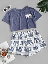 ZAFUL Casual Women Shorts Set Lounge Set Cotton Elephant Print Pajama Set Summer Tracksuits Two Peices Outfits Clothing