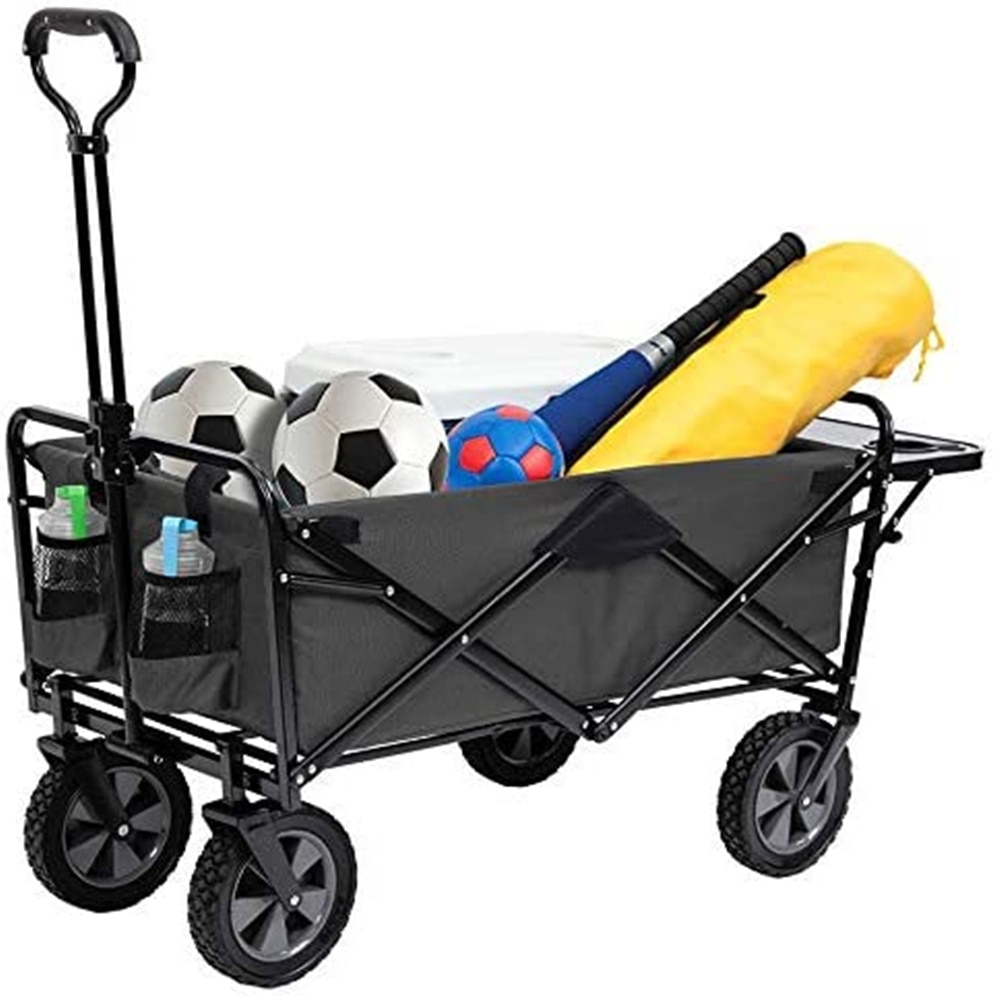 Outdoor Collapsible Wagon Utility Folding Cart Heavy Duty All Terrain Wheels for Shopping Camping Garden Beach Fishing