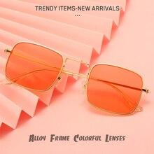 Candy Color Rectangle Lenses Sunglasses For Women Men Alloy Wrap Frame Colorful Transparent Decorati