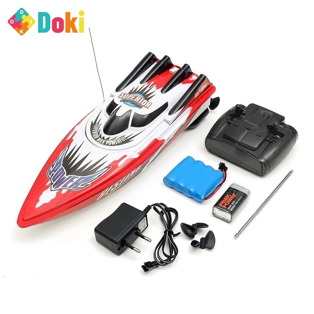 Doki 30km/h RC Boat Toy High Speed Racing Rechargeable Batteries For Children Boat Colors Control Remote Kids Gifts