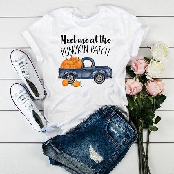 Женская футболка с принтом Hello Fall, футболка с коротким рукавом, свободная футболка, женские топы, одежда, футболка с графическим принтом