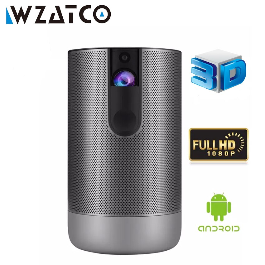 Get WZATCO D2 3D Smart Projector Full HD 1920×1080 Android 7.1 5G wifi 300Inch DLP Proyector Support 4K Video Game LED Beamer