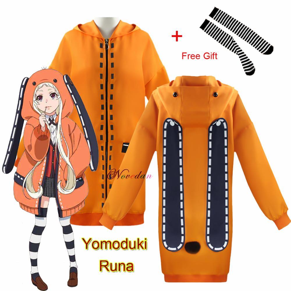 Женский костюм для косплея рунинского йомозуки руны, оранжевая толстовка с капюшоном на молнии из аниме «какегуруй», кофта Gambler   Тематическая одежда и униформа   АлиЭкспресс