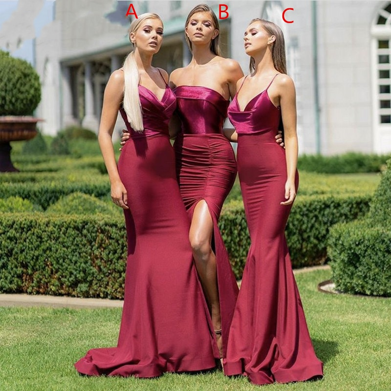 Burgundy Sleeveless Mermaid Bridesmaid Gowns Long Sexy Silver/Coral/Pink/Red/Mint Bridesmaid Dresses Fast Shipping Custom Made fast shipping stunning 8rows 6mm round crude pink coral necklace g165
