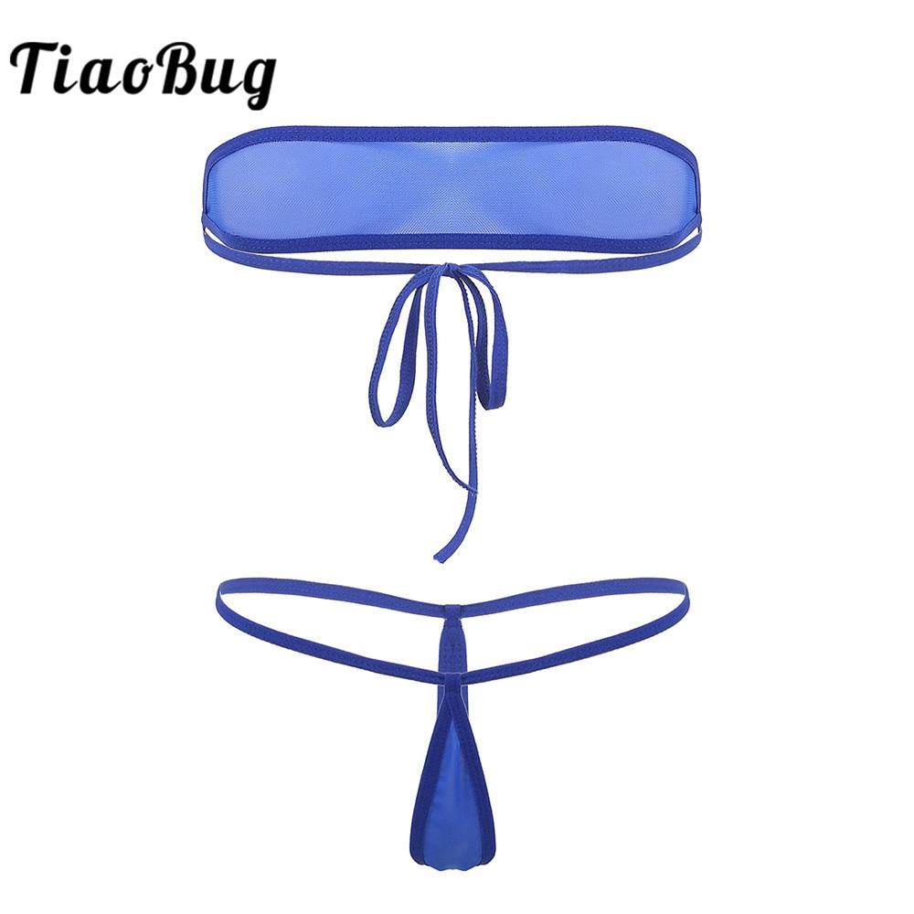Women Erotic Bikini Lingerie Set Micro Mini Sheer Mesh Strapless Tie-on Tube Bra with Thong G-String Sexy Transparent Underwear