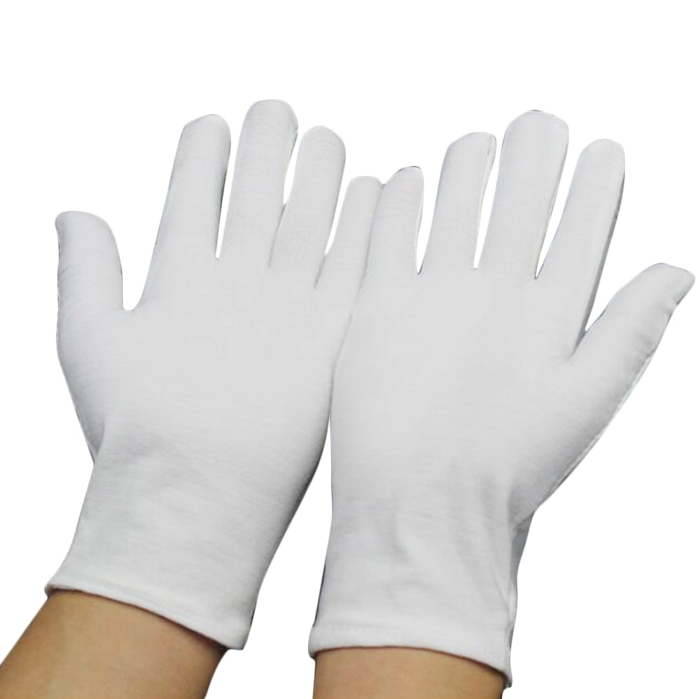 1 Pairs New Full Finger Men Women Etiquette White Cotton Gloves Waiters/Drivers/Jewelry/Workers Mitt