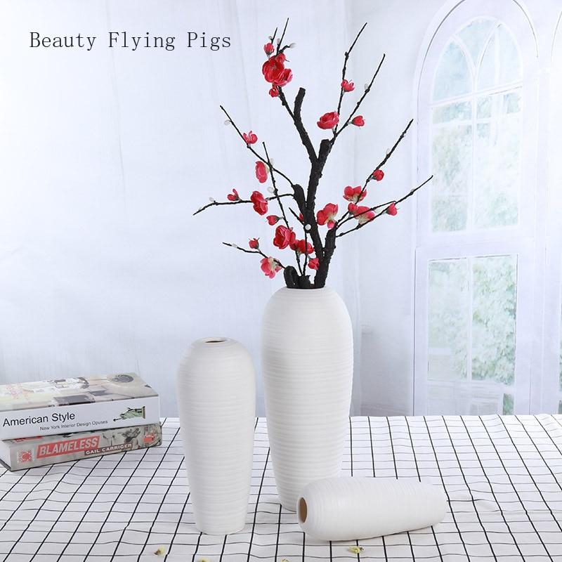 2 sztuk sprzedaż bezpośrednia literackie biały suchy kwiat wazon świeży kompozycja kwiatowa stolik kawowy do salonu dekoracji nowoczesna ceramika