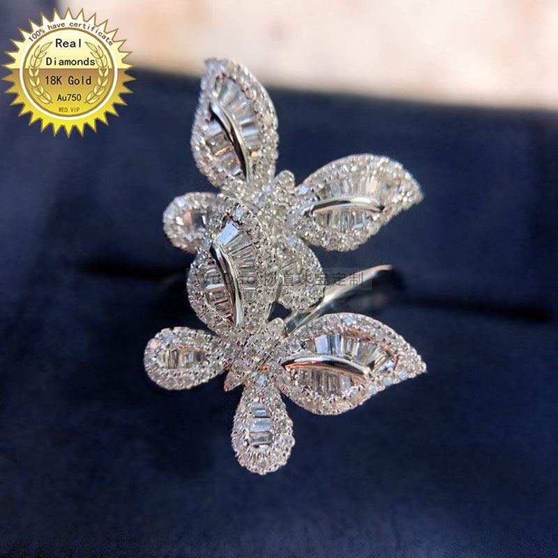18k white gold 0.75ct Natural Real Diamond Ring Engagement&Wedding Jewellery have certificate