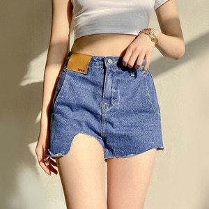 2021 Fashion Women High Waist Booty Jeans Asymmetry Female Harajuku Sexy Cut Out Blue Denim Shorts Bottoms New Streetwear Shorts