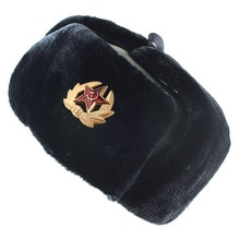 Soviet Military Badge Russia Ushanka Bomber Hats Pilot Trapper trooper Hat Winter Faux Rabbit Fur Ea