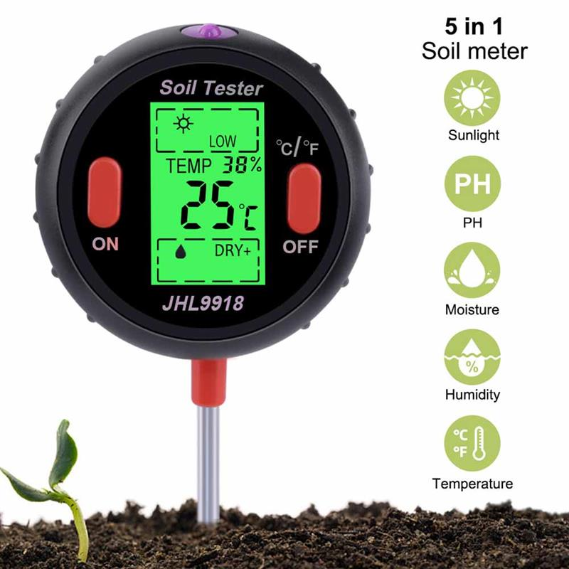 5 in 1 Soil Tester Mini LCD Moisture PH Acidity Temperature Meter Garden Plants Flowers Hydroponics Analyzer Tool