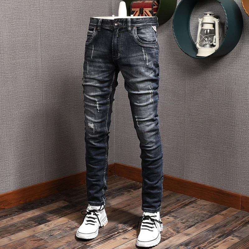 Европейские винтажные модные мужские джинсы в стиле ретро черные синие узкие рваные джинсы мужские потертые Дизайнерские повседневные хло...